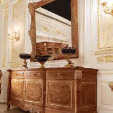 """Domus Aurea - Credenza intagliata in legno massello con 3 ante e 3 cassetti, specchiera intagliata con specchio """"Antico Venezia"""""""