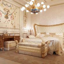 Domus Aurea - CHARM BOISERIE Camera da letto realizzata con boiserie, pannelli e soffiti con decorazioni manuali