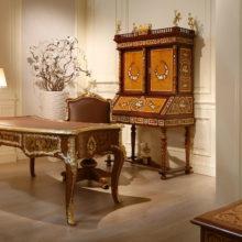 Grand Sancy - Bureau intarsiato, Poltrona girevole in pelle, Scrivania con piano in pelle