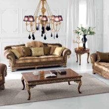 Infinity Flair - Poltrona, tavolino rotondo intarsiato, tavolino rettangolare intarsiato, divano 2 posti, divano 3 posti, candelabro, lampadario