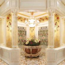 ROS BOISERIE - Boiserie ingresso con decorazioni floreali realizzate a mano su foglia oro, colonne con capitelli intagliati in legno massello. Porte scorrevoli con doppio grigliato intagliato.